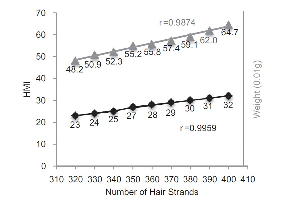 Figure 3: Cross-section trichometry of bundles of cut human hair using the HairCheck<sup>®</sup>device. Shown is correlation between the HMI, the number of hair strands, and bundle weight