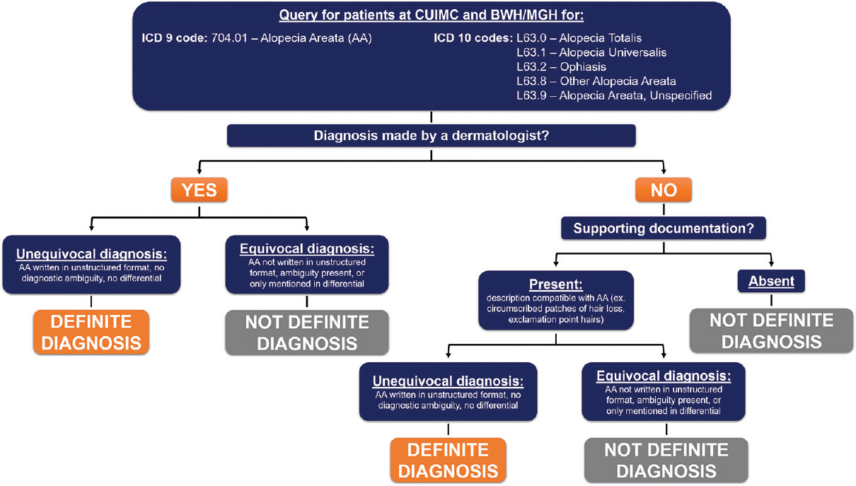 Figure 1: Workflow for validating a diagnosis of alopecia areata based on international classification of diseases coding